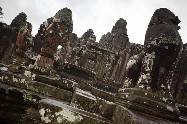 Naga and lion statues guard the Bayon