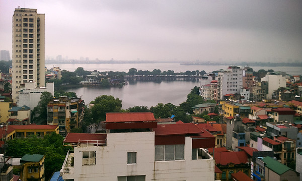 Trúc Bạch Lake (and West Lake beyond) can be seen from the hotel