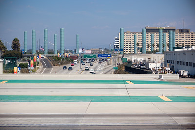 Crossing over Sepulveda Blvd...the LAX Gateway Pylons definitely look better at night