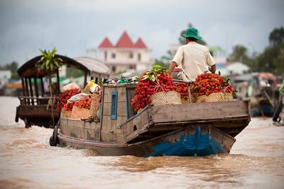 A boat loaded with rambutan passes us