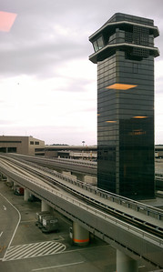 View of the control tower and tram from the cafe