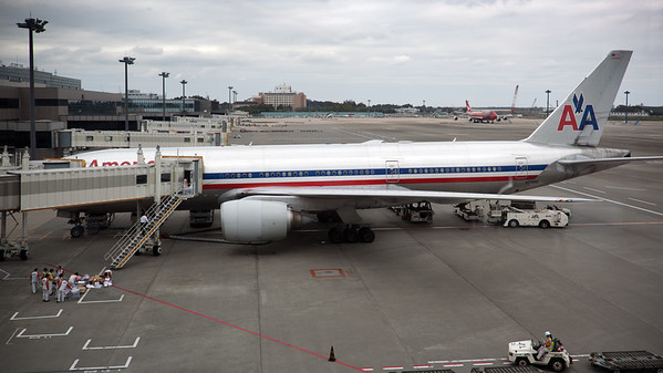View from the cafe:  Could this American Airlines Boeing 777-223/ER (N779AN/7AK) be our flight home?