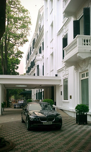 BMW parked in front of the hotel.  I have already seen more expensive (and larger) cars on the streets of Hanoi than I saw during our previous tour from north to south Vietnam.  I have even seen a Porsche Cayenne parked near the Metropole.  Crazy!