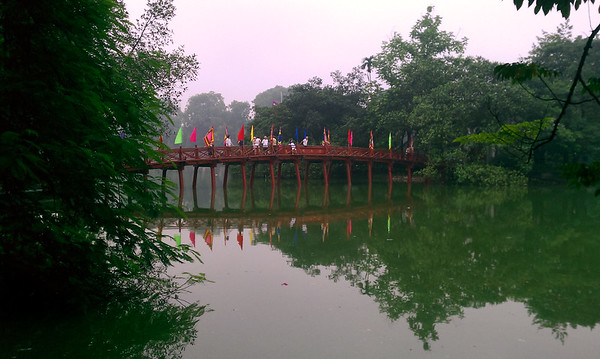 On my Fourth lap around Hoan Kiem Lake.