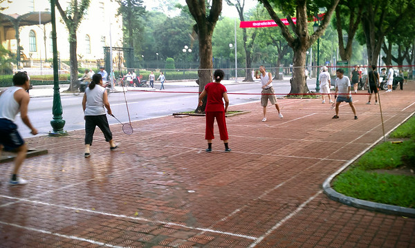 Almost forgot to mention, many Hanoians play badminton in the neighboring parks