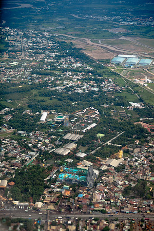 During our last visit we drove by Suoi Tien Amusement Park, this time we fly by it.  We have turned around so now my window faces south.