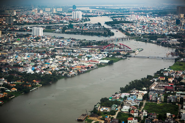 How many times do with cross the Saigon River?
