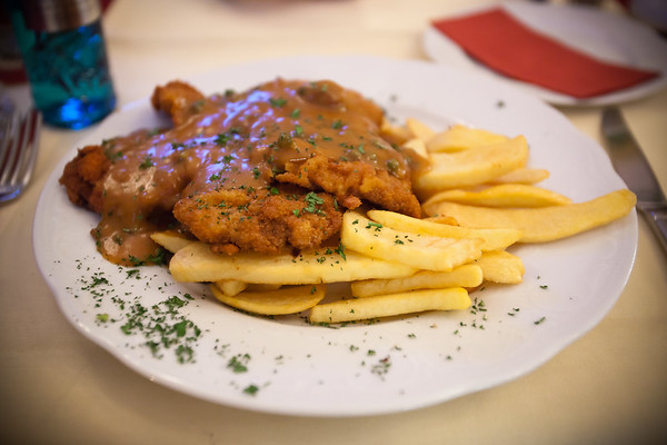 Something not nearly as healthy.  Cosmo and Yordan both order Jaeger Schnitzels.  I may have to order another schnitzel before we fly back to L.A.