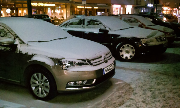 Snow on German cars