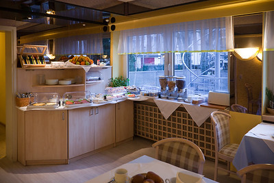DAY 3 - Though the plan is to meet my coworkers at 9am, I am up (and hungry) early.  I head down to check out the Hotel Mondial's included continental breakfast buffet on my own.