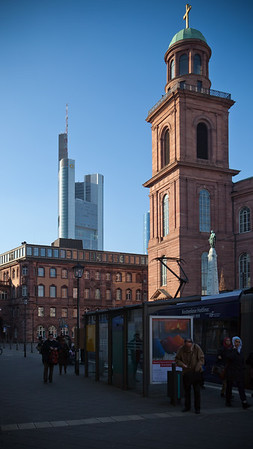 Something new and something old, Commerzbank Tower and Saint Paul's Church (Paulskirche)