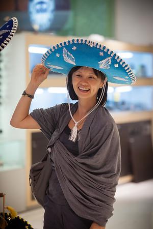 Valerie tries on a sombrero