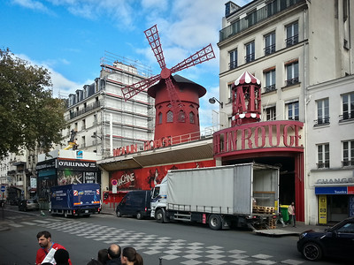 I head west on Boulevard de Rochechouart.  I think I missed a turn or two. I didn't expect to see Moulin Rouge again this trip!