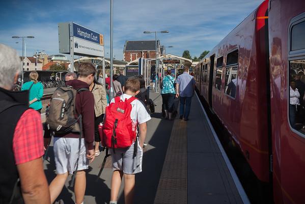 We arrive at Hampton Court Station