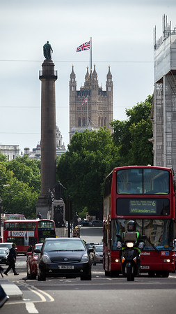 From Regent Street, Duke of York Column and Victoria Tower are visible to the south