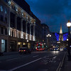 We surface at Regent Street with a view of the University of Westminster, All Souls Langham Place, and the blue-lit BBC Broadcasting House