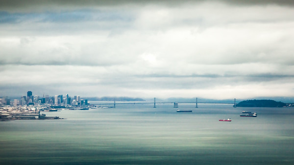 Bay Bridge on final approach.  Why does this photo feel like a painting?