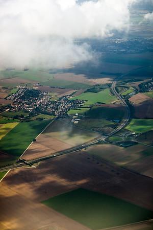 Francilienne (N104), a partial ring road in Île-de-France, twists by by Fontenay en Parisis