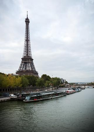 View southeast from the bridge towards Tour Eiffel and Pont d'Iéna