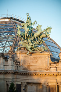 """Sunrise touches the east facing walls of the Grand Palais and its quadriga """"Immortality outstripping Time"""""""