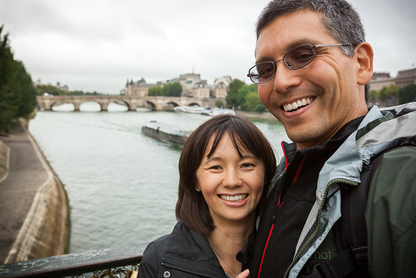 Valerie and I with Pont Neuf from Pont des Arts