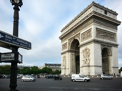 I reach the Arc de Triomphe.  Now I have to remember which street I am supposed to take from here.
