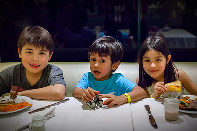 We return to the restaurant when the rest of our group shows up.  Here are my cousins' offspring: Akira (Alison and Mori), Ranvir (Michael), Reiko (Alison and Mori)  Actually, this is the first time I am meeting both Ranvir and Reiko