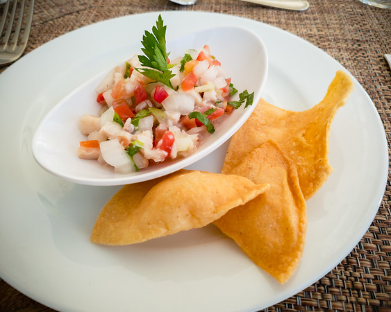 I grab ceviche as my first course at La Hacienda's lunch buffet