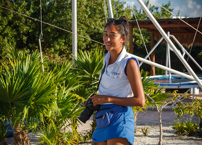 I chat with one of the resort's photographers while getting ready to  photograph Valerie on the trapeze