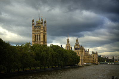 Victoria Tower and Palace of Westminster.