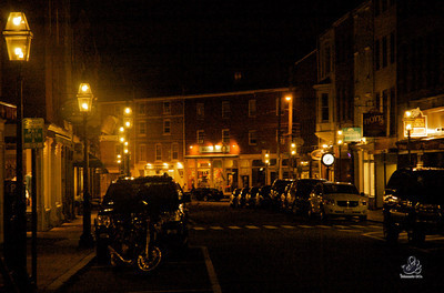 Downtown Portsmouth, NH at night