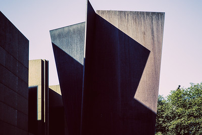 "Top part of Richard Serra's metal sculpture, ""Carnegie."""