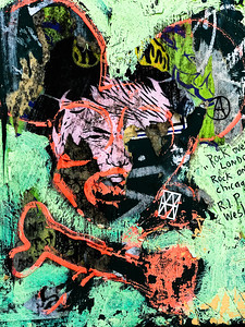 Paper and paint grafitti found near a bus stop on Burnside Street in Portland, Oregon.