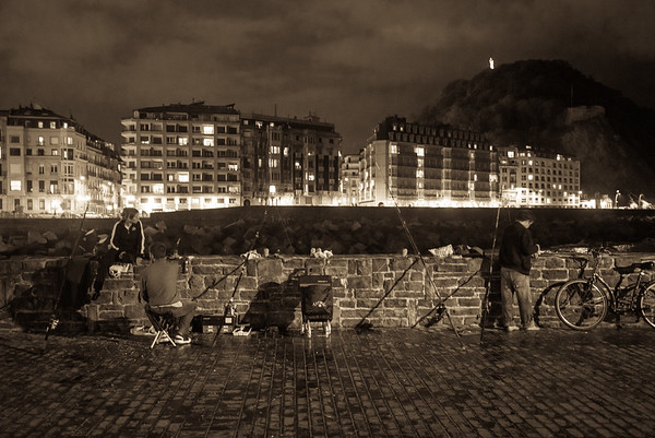 Fishermen at night, San Sebastian