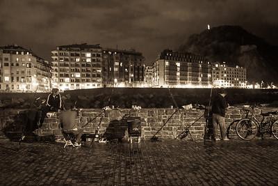 Fishermen at night, San Sebastian