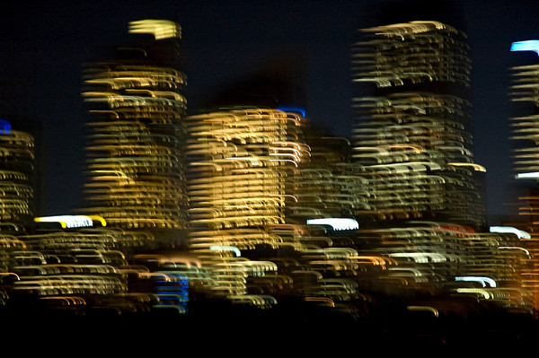 Abstract of Sydney offices at night