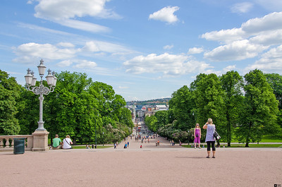 View from Oslo Castle down Karl Johans gate (street). / Utsikt fra Oslo Slott ned Karl Johans gate.