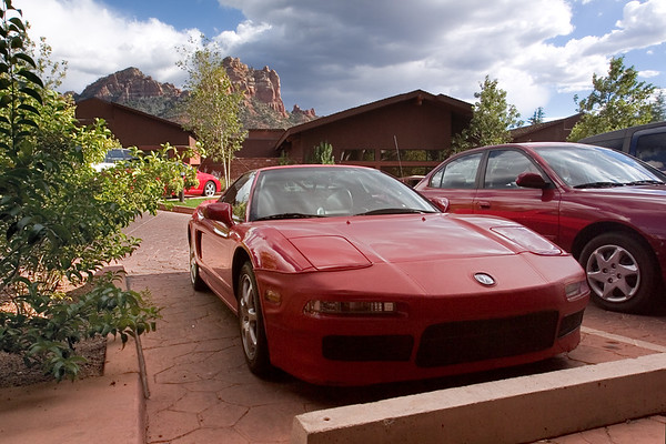 DAY 0 - Though the rest of the car club is driving back to Phoenix for NSXPO 2005's HPDE, I'm parking my NSX in front of the Amara Creekside Resort in Sedona....where Valerie and I will stay for the next two nights