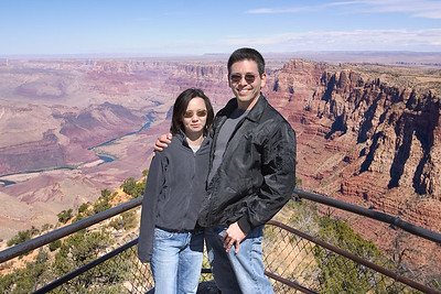 Valerie and I stand at the lookout point located just below the tower...this photo, taken by our tour guide, looks north along the eastern-most end of the canyon