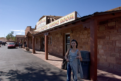 Valerie gets ready to head inside the trading post
