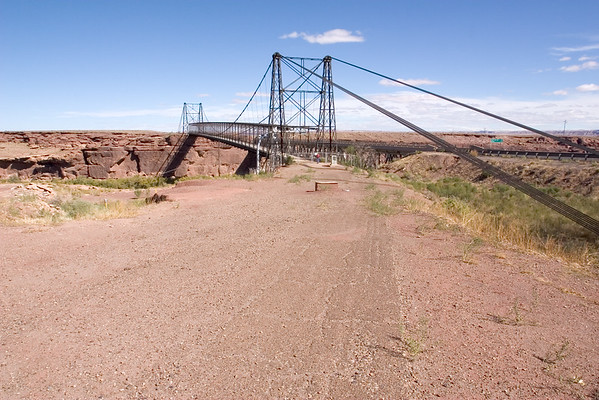This abandoned suspension bridge parallels its modern counterpart
