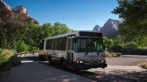The shuttle bus arrives