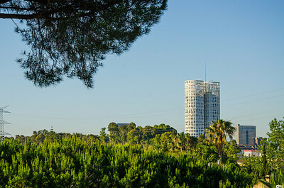 View of Towers of Hercules (Torres de Hercules) from Hotel Guadacorte Park.. Utsikt mot Hercules' Tårn (Torres de Hercules) sett fra Hotel Guadacorte Park.