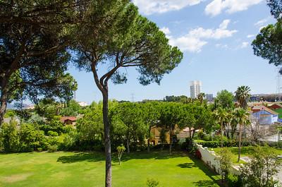 View of Towers of Hercules (Torres de Hercules) from Hotel Guadacorte Park.. Utsikt mot Herkules' Tårn (Torres de Hercules) sett fra Hotel Guadacorte Park.