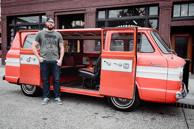 A man, who drove from California to attend Van Haven in Georgetown,  poses for my camera next to his ride.