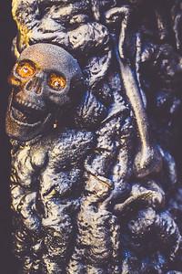 Creepy Halloween-type display of foam skulls seen discarded in Port Angeles.