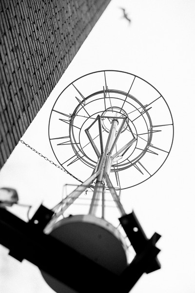 Looking up through a wire replica of the Space Needle for retail store, Simply Seattle at 1st and Pine.