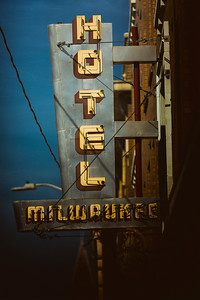 Outdoor sign for Hotel Milwaukee in Chinatown, Seattle.