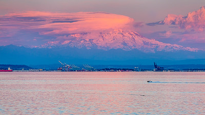 Mt. Rainier at sunset seen from the Tahlequah ferry as we leave Vashon Island.