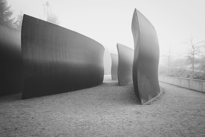 Richard Serra's metal sculpture, Wake, 2004, Seattle, Washington.